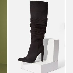 Reza Black Heeled Slouch Boot